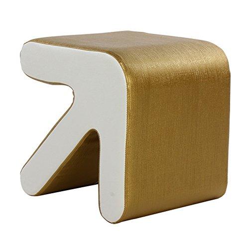 FEIFEI Tabouret en bois massif + PU personnalité mode maison essentielle canapé Tabouret Tabouret de loisirs tabouret cosmétique 38 * 29 * 24cm (longueur, largeur, hauteur) (Couleur : Or)