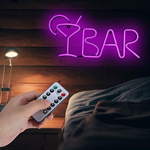 Oyunngs Luces Decorativas de neón LED con Control Remoto, Letras de Bar en Forma de Letrero de neón, luz de Noche, para Fiesta, Sala, Bar, decoración(Púrpura)