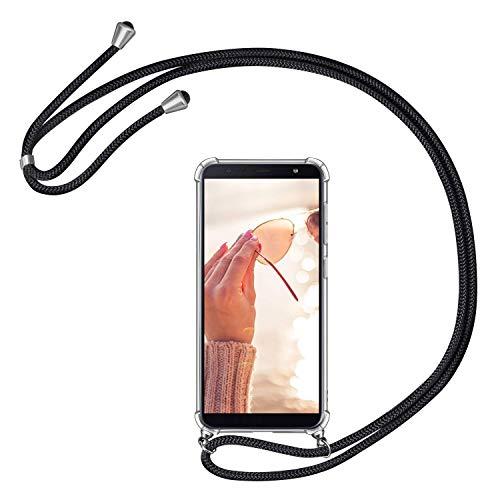 YuhooTech Handykette Kompatibel mit Samsung Galaxy J4 Core Handyhülle [Harte Back PC Case + TPU Bumper] Smartphone Necklace Hülle mit Band - Handyhülle mit Kordel Umhängenband - Schwarz