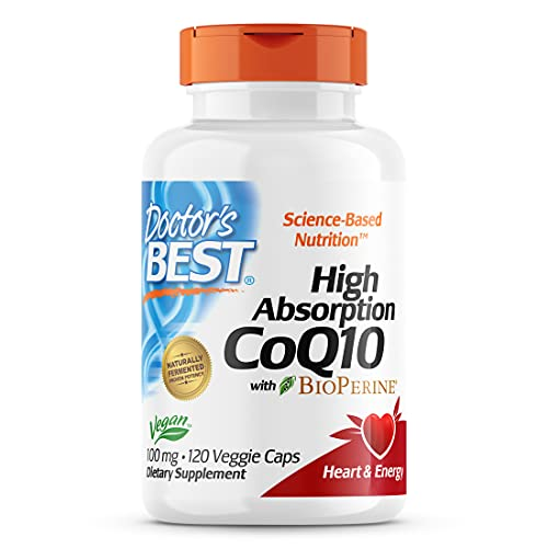 Doctor's Best High Absorption CoQ10 with Bioperine, Heart Health & Energy Production, Non-GMO, Gluten & Soy Free, Vegan, 100 Mg, 120 count