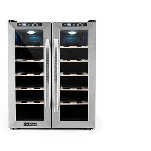 Klarstein SaloonNapa - Weinkühlschrank, zweitüriger Getränkekühlschrank, niedriges Betriebsgeräusch, 10 Einschübe, Temperaturbereich: 11 bis 18 Grad, 67 Liter Volumen, 24 Weinflaschen, silber