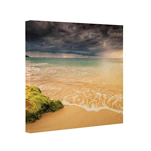 "wonbye Wooden Framed Print Canvas Wall Art Square Beach Cloud Coast Earth Horizon Italy Ocean Rock Sardinia Canvas Prints for Home Decoration, Ready to Hanging 8""X8"""