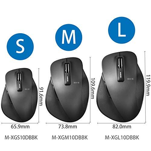 エレコムマウスワイヤレス(レシーバー付属)Mサイズ5ボタン(戻る・進むボタン搭載)BlueLED握りの極みブラックM-XGM10DBBK