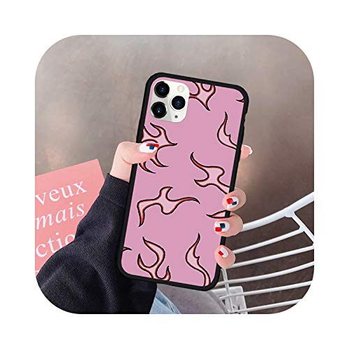 Purple Flames Phone Case For iPhone 11 Pro 12 mini 7 X XS MAX XR SE20 8 6Plus Pink Fire Print Silicona Hard Cover Fundas-Style 2-For 11 Pro Max
