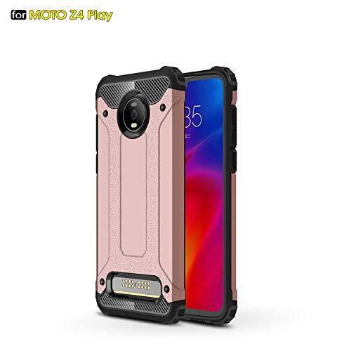 Capa para Motorola Moto Z4 Play híbrida de camada dupla resistente à prova de choque PC e TPU + 1 protetor de tela 9H protetor de vidro temperado HD transparente película rosa
