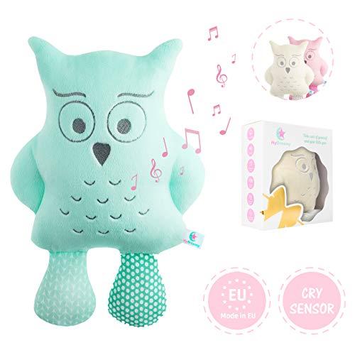 """MyDreamys Hummy Plüsch Eule """"Jezzy"""" - Hochwertiges Kuscheltier mit Cry Sensor, spielt 5 Melodien und 5 White Noise Geräusche als Einschlafhilfe für Babys und Kinder -Perfektes Geschenk"""