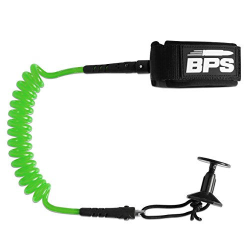 BPS 'PRO' Bodyboard Wrist Leash with Leash Plug for Body Board - Comes with Double Swivels (Green)