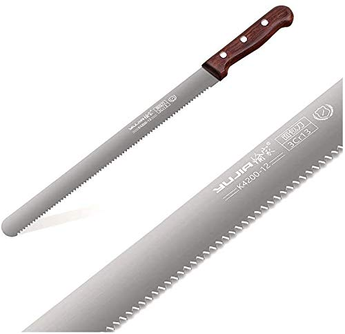 YUJIA Cake/Bread Knife, 12 Inch blade, 3CR13 Stainless steel,Silver, Solid Walnut wood hand.