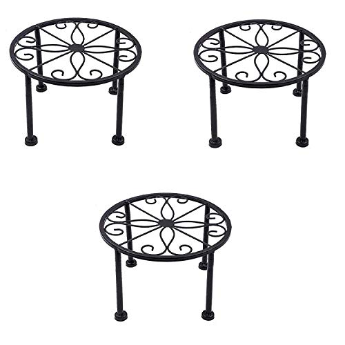 3 Packs Iron Black Antirust Plant Stand,Non-Slip and Stable Potted Holder for Indoor Outdoor Heavy Duty Container,Beverage Dispenser on Livingroom Floor,Balcony, Porch,Tabletop (3)