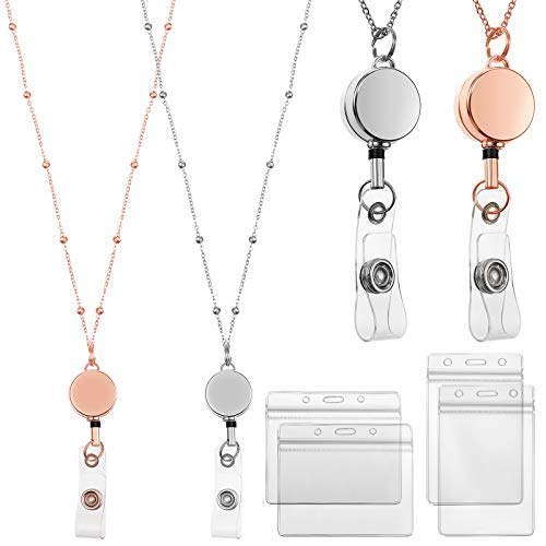 2 Pieces Retractable Badge Reel Lanyard with ID Holders Stainless Steel Necklace Lanyard Badge Clip Chain Water Resistant Holders for Girl Women (Rose Gold, Silver)
