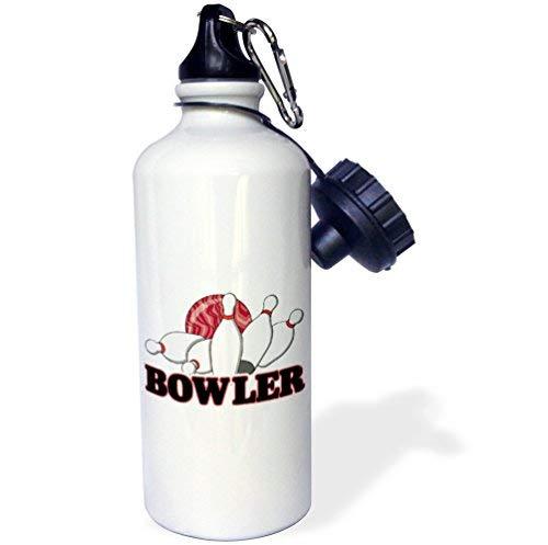 ANGELA G Bowler Bowling Ball und Pins Sport Design Sport Wasserflasche 53,3 ml Weiß Edelstahl Wasserflasche