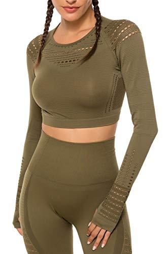 INSTINNCT Yoga Top Femme Vêtement Yoga T Shirt Sport Manches Longues sans Coutures Fitness Chemise Sports Sportswear,Vert,Small
