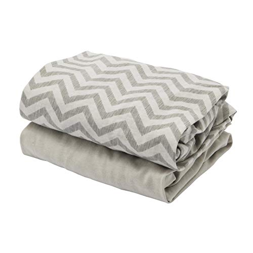 Tutti Bambini CoZee Cot Fitted Sheets (2 Pack) - Chevron/Grey 100% Cotton Sheets - for CoZee Bedside Crib