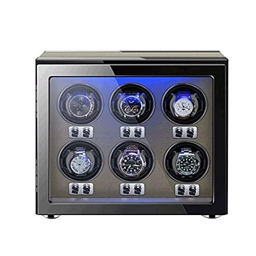 MRTYU-UY Enrollador de Reloj Almohadas de Reloj Ajustables 6 Espacios sinuosos Enrolladores de Reloj para Relojes automáticos Iluminación LED incorporada