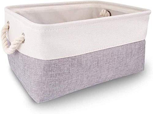 XIEZI Bolsa de almacenamiento de ropa de papel, caja de almacenamiento rectangular grande, cesta de almacenamiento con asas, para armario, plegable, color blanco y gris