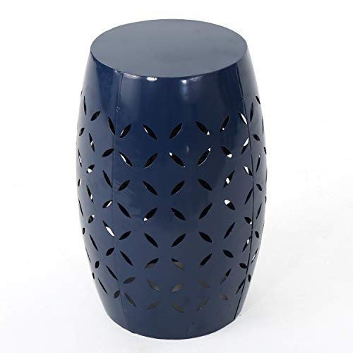 Christopher Knight Home Jorell Lace Cut Iron Accent Table, Dark Blue