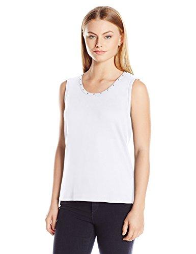Rafaella Women's Petite Size Heat Set Tank, White, PL