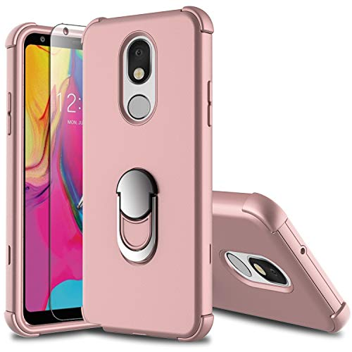 Leptech LG Stylo 5 Case with Soft TPU Screen Protector, LG Stylo 5 Plus Case, Ring Holder Kickstand Series Compatible with LG Stylo 5/LG Stylo 5V Case (Pink)