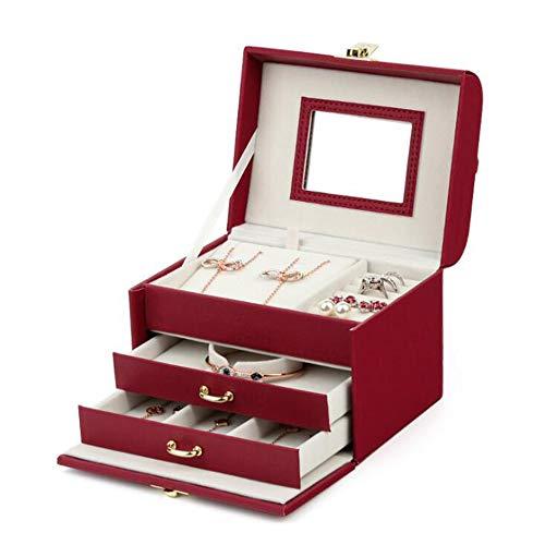 LXQLLJJD Caja de Almacenamiento de Joyas de Cuero, 3 Capas portátiles con Adornos de Espejo Ornaments Organizador de Caja para Pendientes, Anillos, Collares, Pulseras (Rojo)