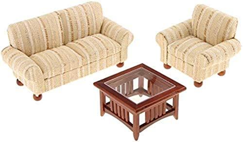 hsj 1/12 Skaladollhouse-Miniwohnmöbel Sofa, Stuhl, Tee-Tabelle 3 PC-Satz, Puppenhaus Miniatur-Zweisitzer-Couch Einzel Sofa Teetisch Set Exquisite Verarbeitung (Color : Gold)