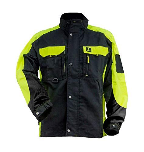 Urgent URG-Y Arbeitsjacke Herren reflektierend Jacke Schutz für Maler Stuckateur Monteur Gärtner Mechaniker Cargo große Taschen leichte Damen Mantel EN340 Schutzkleidung; schwarz mit gelb; (54)
