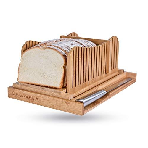 Cortadora de pan de bambú | Máquina de cortar pan con bandeja de migas | Cortador de pan plegable fácil de usar | Tamaños de rebanada ajustables | Guía de corte de pan con cuchillo afilado y bolsa de almacenamiento