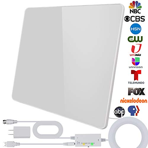 [2020 Upgraded] TV Antenna, Digital HD Indoor Antenna Amplified 200 Miles Range Smart Amplifier Signal Booster for All Televisions 1080P 4K Free TV Channels, 17ft Coax Cable/USB Power Adapter