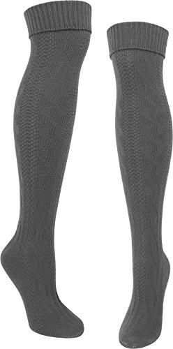 normani Stiefel Kniestrümpfe Grobstrick mit Kopfmuster und Umschlag Farbe 1 Paar Anthrazit Größe 35/38