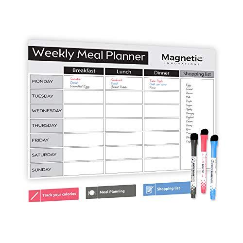 Magnetisches Whiteboard, groß, A3, trocken abwischbar, ideal als Wochenplaner für die Familie, Essensplaner, Einkaufsliste, Memoboard, Diätplaner, inkl. 3 Marker