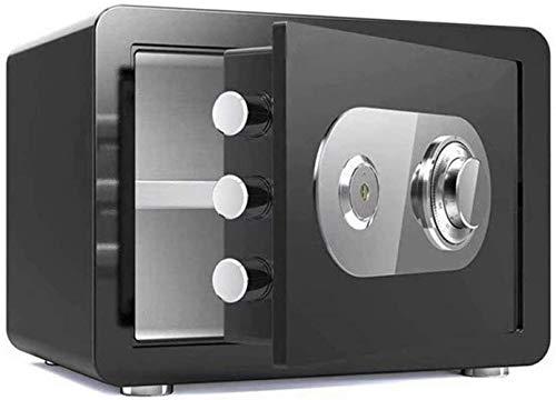 Vault kluis, safe, huishoudelijke mechanische sloten + sleutelvak, hoge veiligheid staal, anti-diefstal-vuur- en waterdicht, elektronische meubelkluis (kleur: zwart, maat: 38x30x30cm)