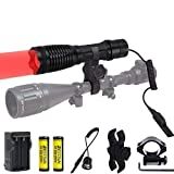 Red Hunting Light 350 Yard Long Range Zoomable Red LED Flashlight Predator Lights Red Light Flashlights Kit with Pressure Switch for Coyote Hog Varmint Coon Fox (Rechargeable Batteries Included)