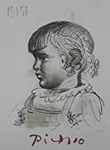 Wall Art by Marina Picasso Portrait D'enfant Limited Edition Lithograph Print. After the Original Painting or Drawing. Pablo Picasso Paper 29 Inches X 23