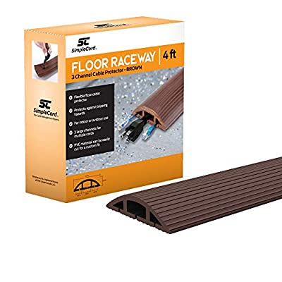 Floor Cable Cover - 10 Ft Black Cord Protector Covers Cables, Cords, or Wires - 3 Channel On Floor Raceway for Sidewalks or Walkways, in The Home or Office Doorways