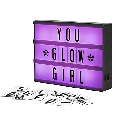 My Cinema Lightbox - RGB Color Changing Cinema Light Box Mini - 100 LED Light Letters and Numbers - Personalized Neon Signs as Novelty Lighting, Your own Light Box Sign, Marquee Light Up Letters Box