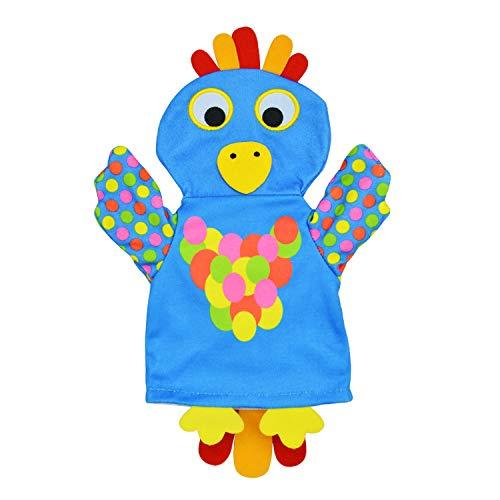 XKMY Marionetas de mano para mascotas, 1 pieza de juguete de dibujos animados, marionetas de mano, muñecos de animales para niños y bebés (color: loro)