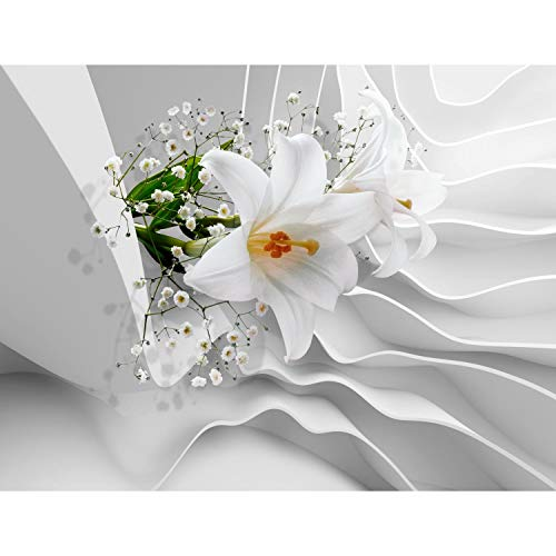 Fototapete Blumen 3D Lilien Weiß 396 x 280 cm Vlies Wand Tapete Wohnzimmer Schlafzimmer Büro Flur Dekoration Wandbilder XXL Moderne Wanddeko Flower 100% MADE IN GERMANY - Runa Tapeten 9179012a