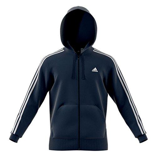adidas Herren Essentials 3-Stripes Full Zip Brushed Jacke, Collegiate Navy/White, XL