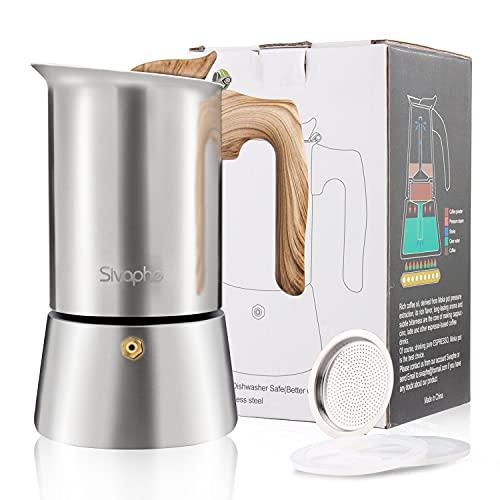 Sivaphe Stovetop - Cafetera italiana de acero inoxidable, 9 tazas italianas de 450 ml, 2-3 tazas para el hogar, camping, senderismo