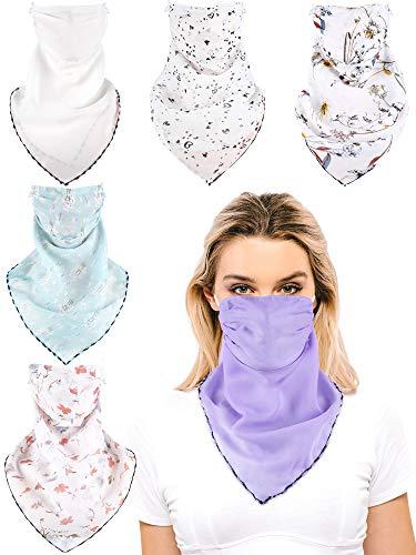 SATINIOR 6 Stücke Sonnenschutz Gesichtsabdeckungen Sturmhaube Atmungsaktive Halsmanschette für Frauen (Blumen, Weiß und Lila)