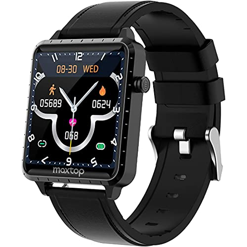 Smart Watch,MAXTOP Smartwatch Compatible iOS/Android Phones for Fitness Activity Tracker with Heart Rate Monitor & Blood Pressure Monitor&Sleep Monitor, Step Counter for Men Women(Black)