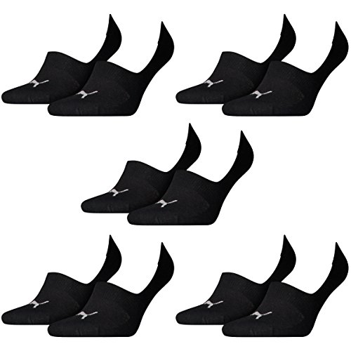 PUMA 10 Paar Socken Footie Sportsocken Invisible Gr. 35-46 Unisex, Farbe:200 - black, Socken & Strümpfe:35-38