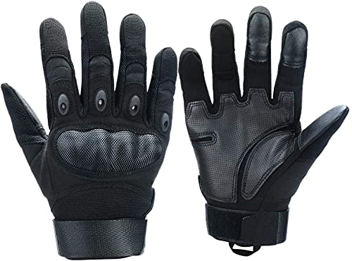 Xnuoyo Gomma dura Nocca Full Finger e Mezza Finger Gloves Guanti di protezione Touch Screen Guanti per Moto Ciclismo Caccia Arrampicata Camping (Nero, Medium)
