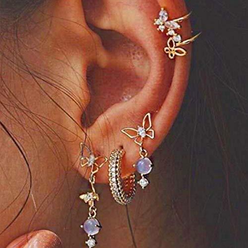 Fashband Boho orecchini a cerchio set punk orecchini a perno retrò vintage orecchini clip moda gioielli accessori regalo per donne e ragazze 5 pezzi