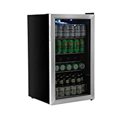 Holds 105 standard 12 oz. cans along with up to 5 wine bottles at a temperature down to 38°F, whereas most units bottom out at 42°F Quiet compressor-based cooling system with a convection fan maintains consistent low temperatures and eliminates hot s...