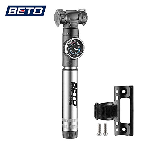 Beto Mini Bike Pump with Gauge- 2 Stage Portable Bicycle Tire Air Inflator- Mounting Bracket Included (Grey)