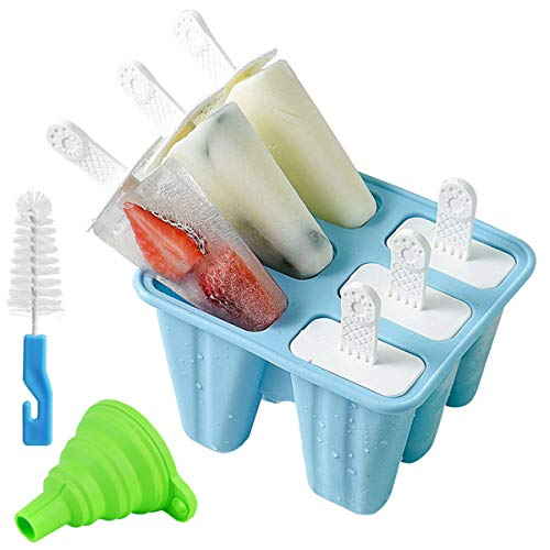 Helistar Popsicle Molds 6 Pieces Silicone Ice Pop Molds BPA Free Popsicle Mold Reusable Easy Release Ice Pop Maker with Silicone Funnel and Cleaning Brush, Blue