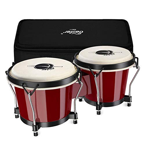 """Eastar Bongo Drums 6"""" and 7"""" Congas Drums for Kids Adults Beginners Professionals Wood Percussion Instrument Bongos for Kids Adults Beginners with Bag and Tuning Wrench, Red, EBO-1"""