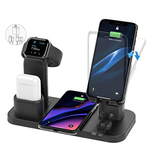 Wireless Charger Stand, CEREECOO 4 in 1 Wireless Charging Station Dock Compatible with iPhone 11/11pro/Xr/Xs/X/Max/8/8Plus/7/6/6s/5 Apple Watch5/4/3 AirPods((Only iWatch Charger Required)