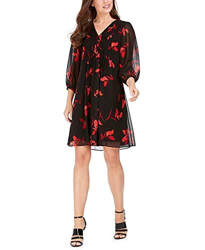 Calvin Klein Women's V-Neck Floral A-Line Dress Red/Black 12