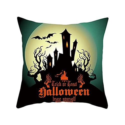 PERFECTHA Feliz Halloween Decoraciones Calabaza Gato Bruja Fundas de Almohada Beige 18X18 Pulgadas Fundas de cojín Protectores de Almohada Ropa de Cama de sofá Accesorios de Moda Sincere